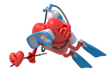 snorkel: heart with diving goggles, flippers and trident, 3d illustration Stock Photo