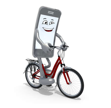 gsm phone: smartphone with arms and legs riding a bicycle, 3d illustration Stock Photo