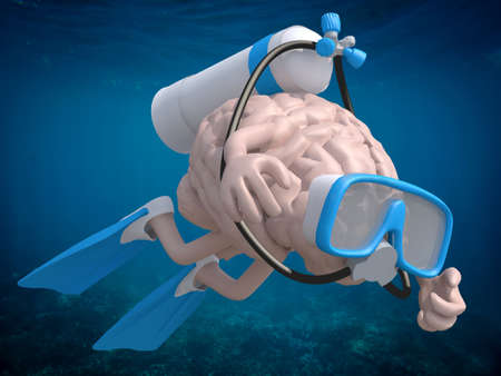 flippers: Human brain with diving goggles and flippers, 3d illustration
