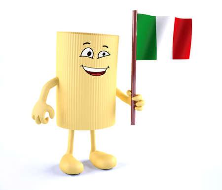 macaroni avec les bras, les jambes et drapeau italien sur la main, illustration 3d