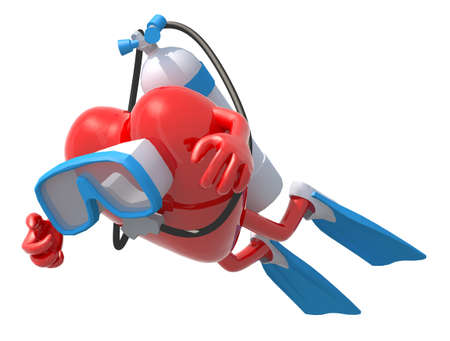 heart with diving goggles and flippers, 3d illustration