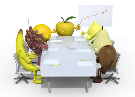 many fruits meeting around the table and follow their boss, 3d illustration
