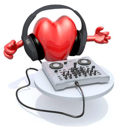 equipo de sonido: corazón grande con auriculares dj frente a consolle, ilustración 3d Foto de archivo
