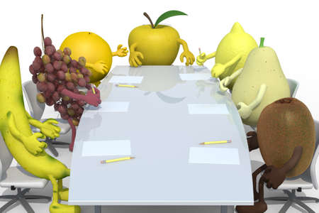 ascorbic: many fruits meeting around the table and follow their boss, 3d illustration