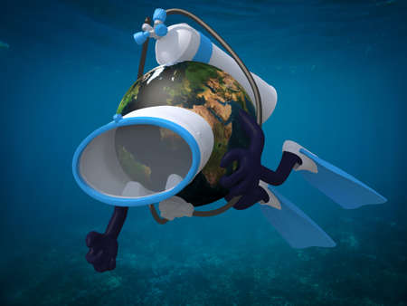 Planet earth with diving goggles and flippers, 3d illustration.