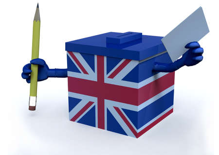 jack in the box: Ballot Box with British flag, 3d illustration Stock Photo