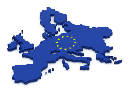 color 3d: Map of Europe with flag color, 3d illustration