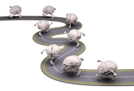 running: many human brains that runs in the street, 3d illustration