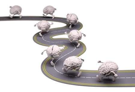 Muchos cerebros humanos que se ejecutan en la calle, ilustración 3d