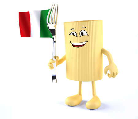 pasta fork: macaroni pasta with arms, legs, fork and Italian flag, 3d illustration Stock Photo
