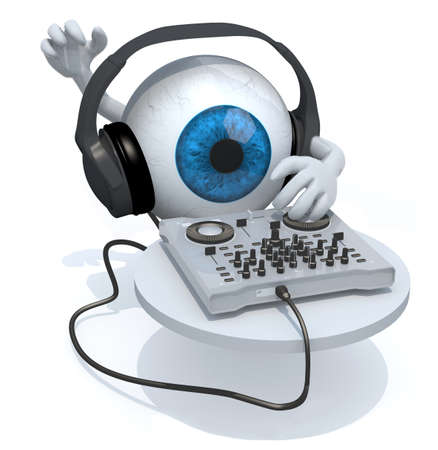Blue Eyeball with dj headset in front of consolle, 3d illustration Stock Photo