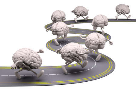 runs: many human brains that runs in the street, 3d illustration