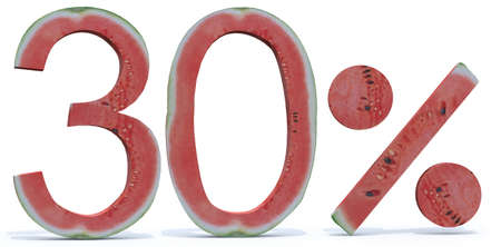 compilation: 30 percent written made with watermelon, 3d illustration Stock Photo