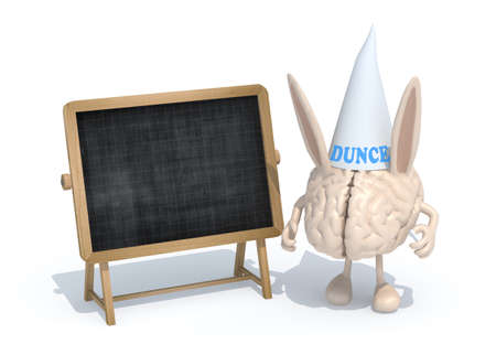 shame: human brain with ears Dunce and hat in front of a blackboard, 3d illustration Stock Photo