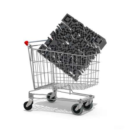 Shopping cart with big qr code inside, 3d illustration