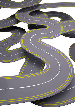 autobahn: many roads, traffic concept 3d illustration