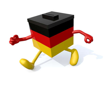 German election ballot box with arms, envelope paper and pencil on hands, 3d illustration Stock Photo