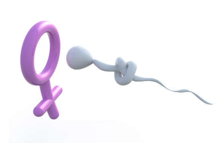 contraceptive: sperm with a knot on it that makes for a woman symbol, 3d illustration Stock Photo