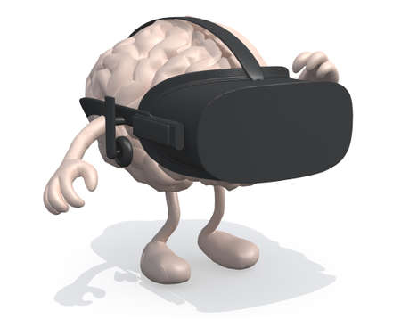 human brian with virtual reality glass, 3d illustration
