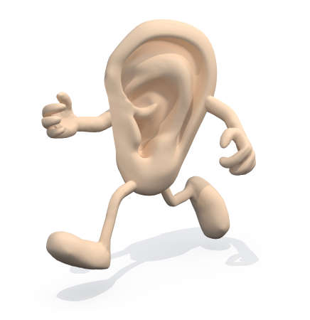 ear with arms and legs that run, 3d illustration