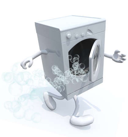 wash machine: wash machine with arms and legs that run, 3d illustration