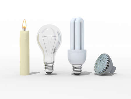 Candle, incandescent light bulb, compact fluorescent and light emitting diodes, 3d illustration