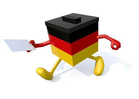 German election ballot box with arms, legs and envelope paper on hands, 3d illustration Stock Photo