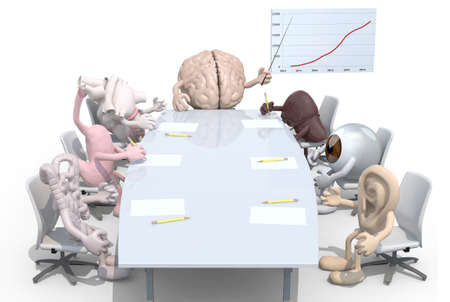 many human organs meeting around the table and follow their boss, 3d illustration