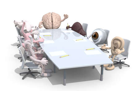 intestinal cancer: many human organs meeting around the table and follow their boss, 3d illustration