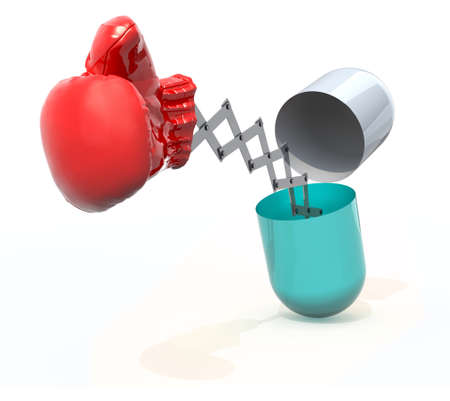 pill with a boxing glove emerging out isolated 3d illustration Stock Photo