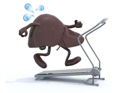 absorption: liver with arms and legs on a running machine, 3d illustration