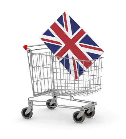 Shopping cart with UK Flag inside, 3d illustration