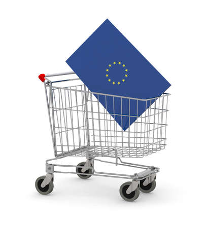 Shopping cart with Europe Flag inside, 3d illustration