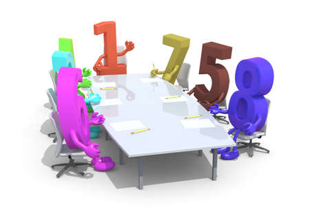 one on one meeting: many 3d numbers meeting around the table and follow their boss, the number one, 3d illustration