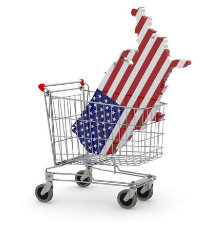 Usa 3d map into shopping cart, 3d illustration Stock Photo