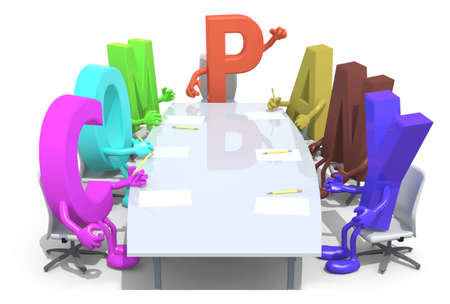 many 3d letters forming the word company, around a meeting table and follow their boss, 3d illustration