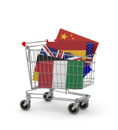 embargo: Shopping cart with many Flags inside, 3d illustration