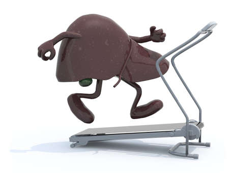 liver with arms and legs on a running machine, 3d illustration