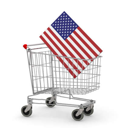home shopping: Shopping cart with USA Flag inside, 3d illustration