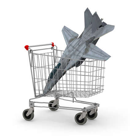 inflation basket: Shopping cart with a warplane inside, 3d illustration Stock Photo