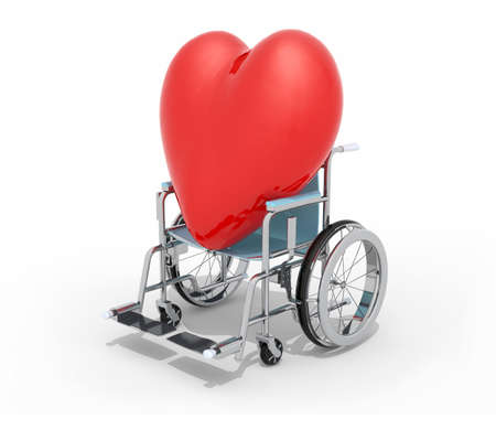 big red heart on a wheel chair isolated 3d illustration