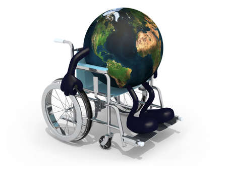 assist: planet earth with arms and legs on a wheelchair isolated 3d illustration. Elements of this image furnished by NASA. Stock Photo