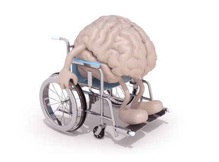 human brain with arms and legs on a wheelchair isolated 3d illustration Stock Photo