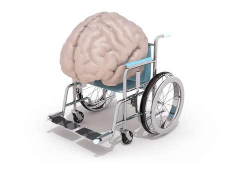 brain illustration: human brain on a wheelchair isolated 3d illustration Stock Photo