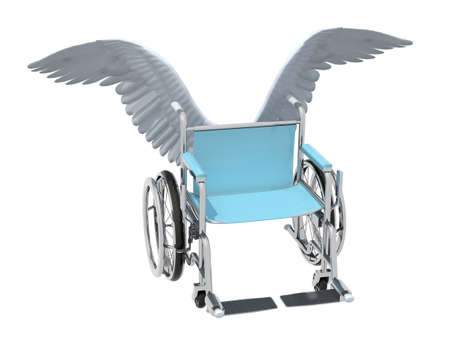 paralyze: wheelchair with bird wings that fly on the sky, 3d illustration Stock Photo