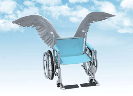wheelchair with bird wings that fly on the sky, 3d illustration Stock Photo