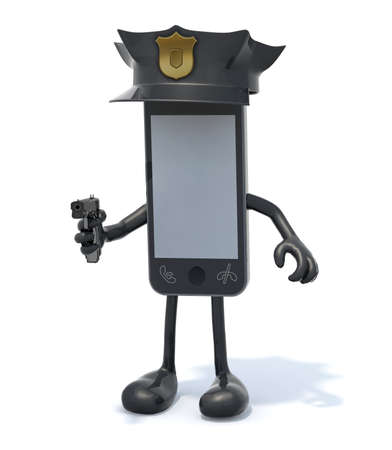 communications: smartphone with arms and legs, police cop and gun on hand, 3d illustration