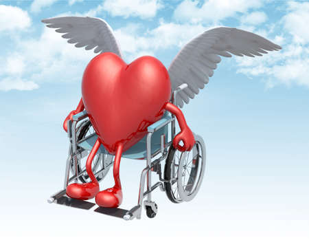 big red heart on a wheelchair with bird wings that fly on the sky, 3d illustration