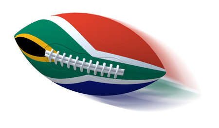 rugger: South African flag on rugby ball with motion blur on White, 3D Illustration Stock Photo