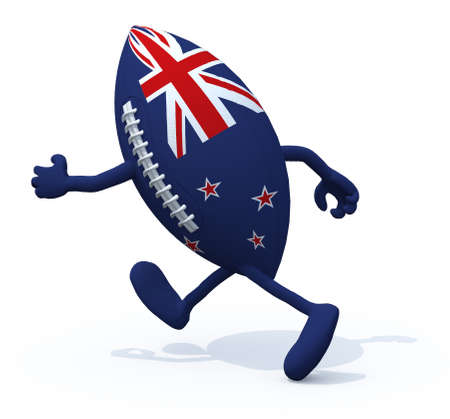 rugger: New Zealand flag on rugby ball with arms and legs that run away, 3D Illustration